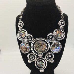 Silver and Abalone Statement Necklace